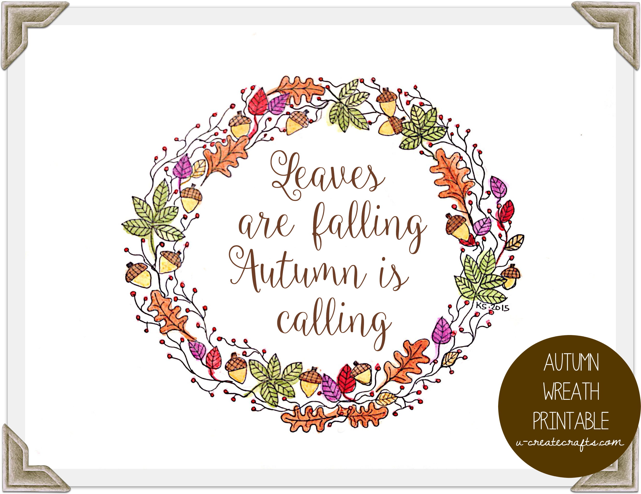 image regarding Autumn Printable identified as Autumn Wreath Cost-free Printable