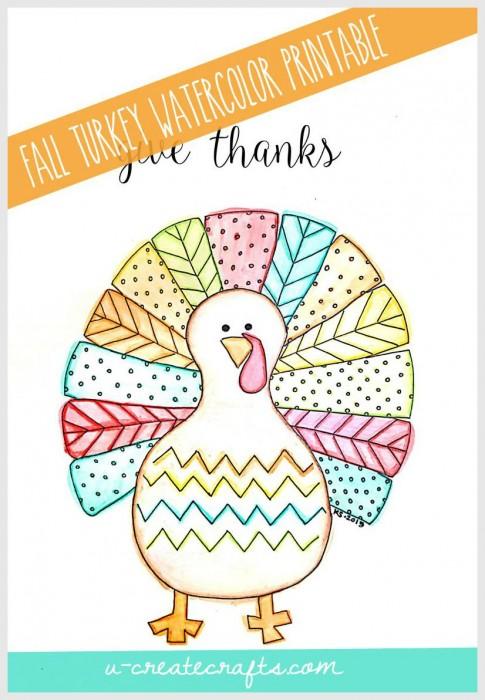 Fall Printable Watercolor Turkey by U Create