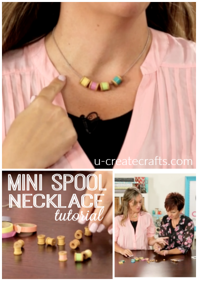 Mini Spool Necklace Tutorial at u-createcrafts.com