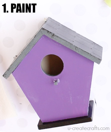 Paint dollar store birdhouse