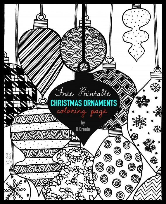 "Adult Coloring Page Printable by U Create ""Christmas Ornaments"""
