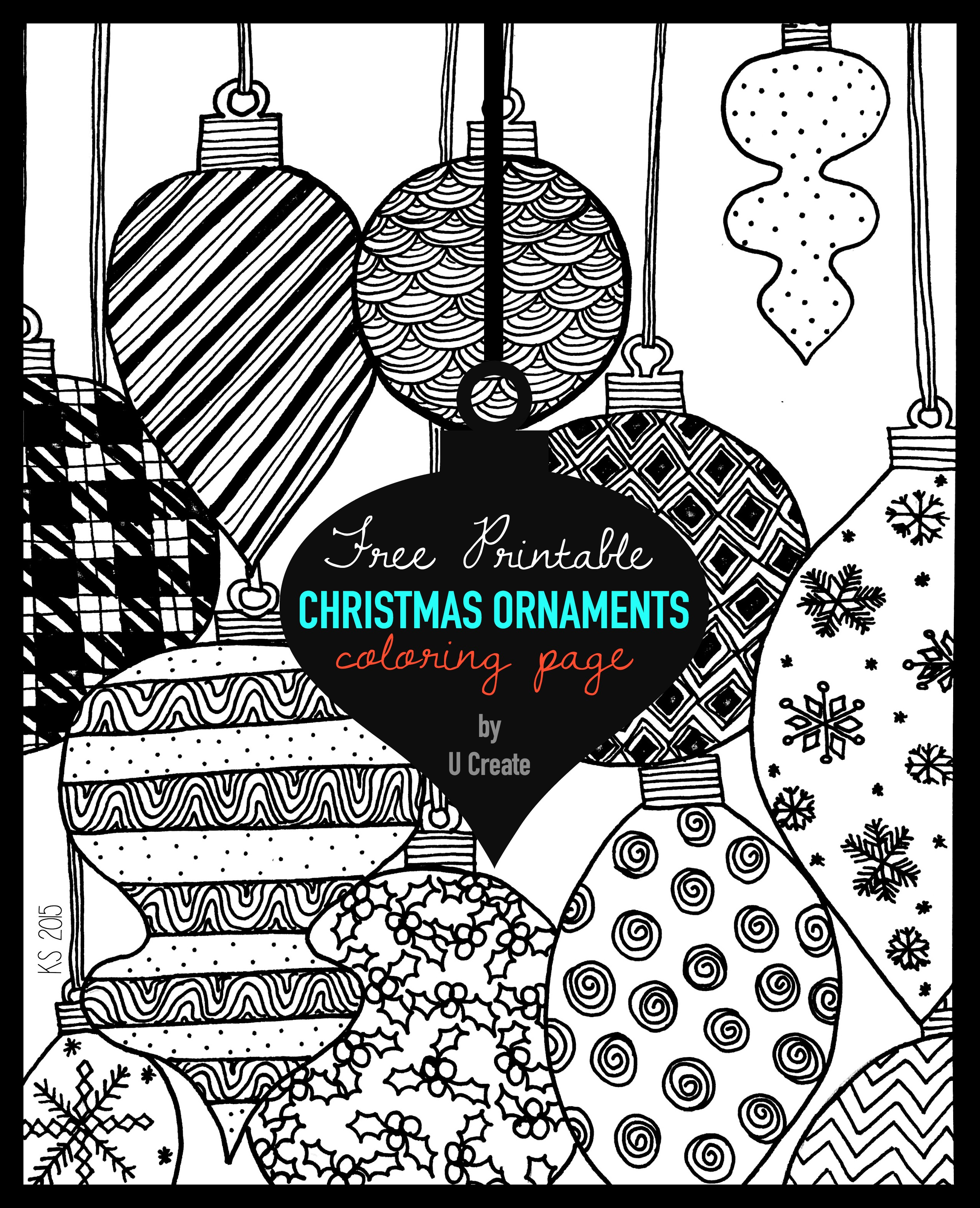Christmas Ornaments Adult Coloring Page - U Create