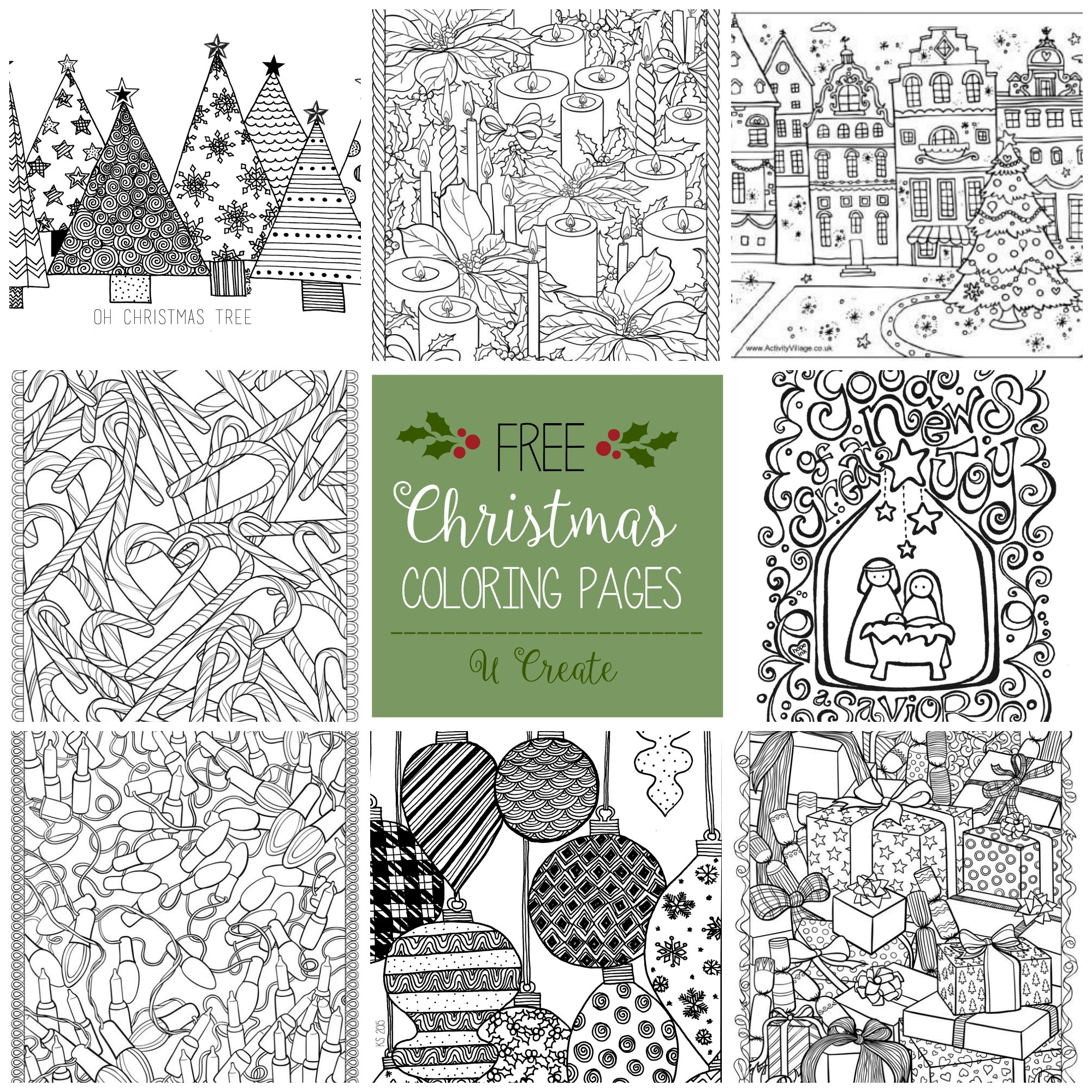 free christmas adult coloring pages u create - Printable Coloring Christmas Pictures