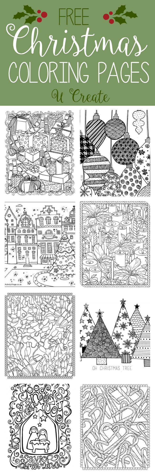 Free Coloring Pages To Print For Christmas. Free Christmas Adult Coloring Pages  U Create