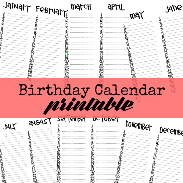 Printable Birthday Calendar at U-createcrafts.com