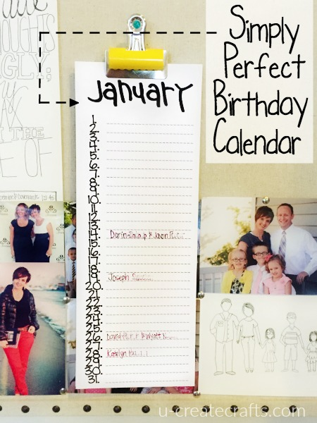 Simply Perfect Birthday Calendar at u-createcrafts.com