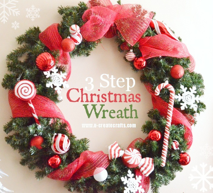 christmas wreath tutorial by u create - How To Make A Christmas Wreath