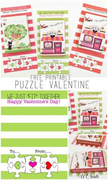 Free Printable Puzzle Valentines by U Create