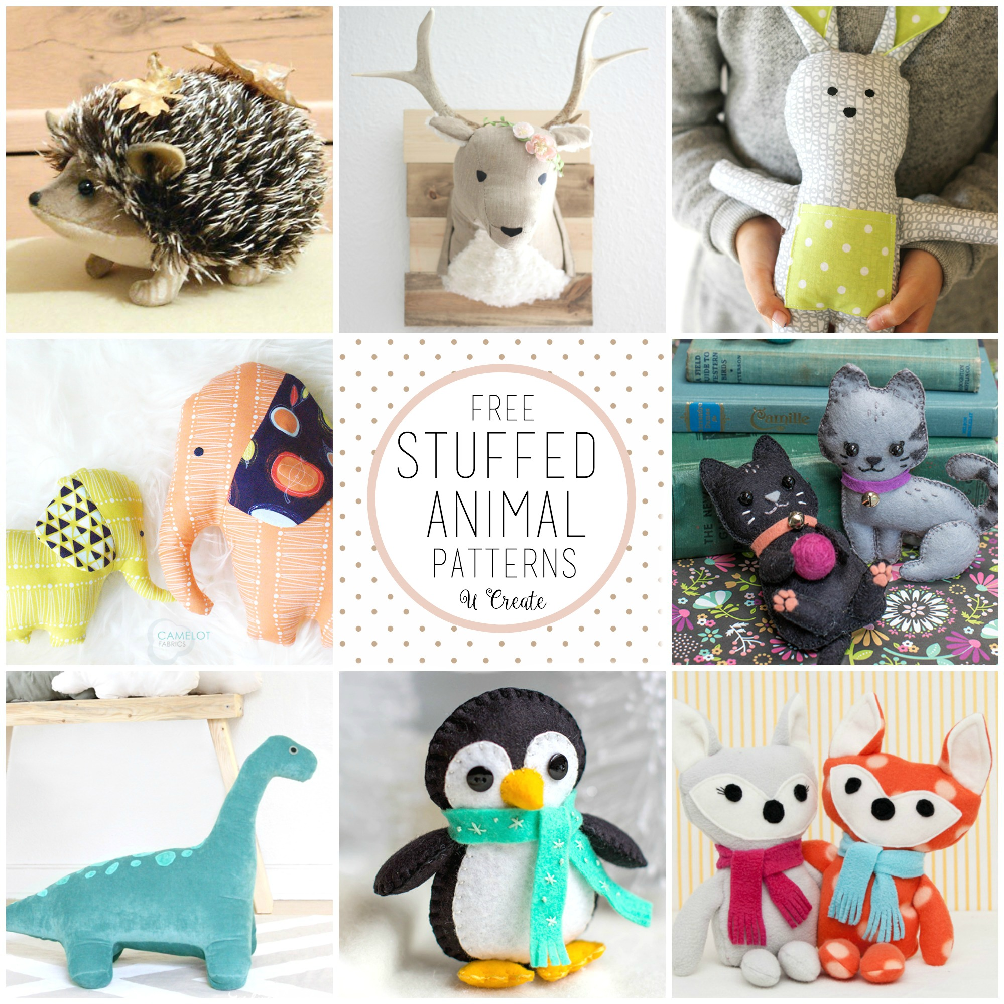 Free stuffed animal patterns the cutest u create for Sewing templates for stuffed animals