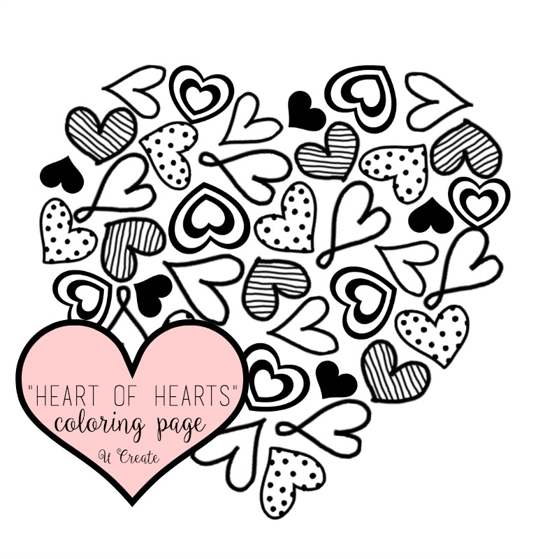 picture about Free Printable Heart Coloring Pages called Center of Hearts Coloring Webpage or Printable! - U Make