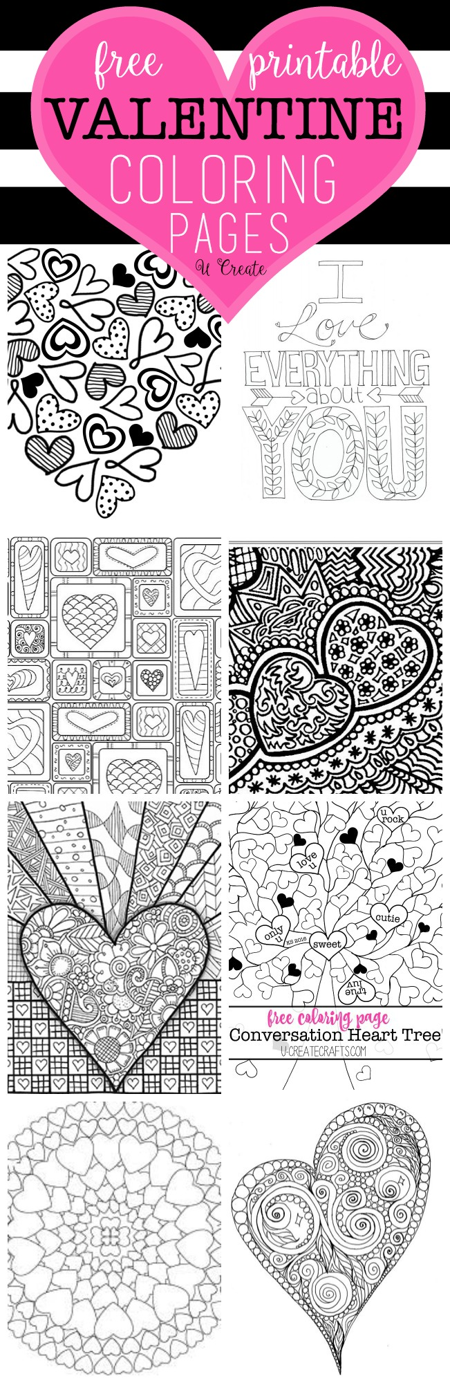 Free Valentine Coloring Pages - U Create
