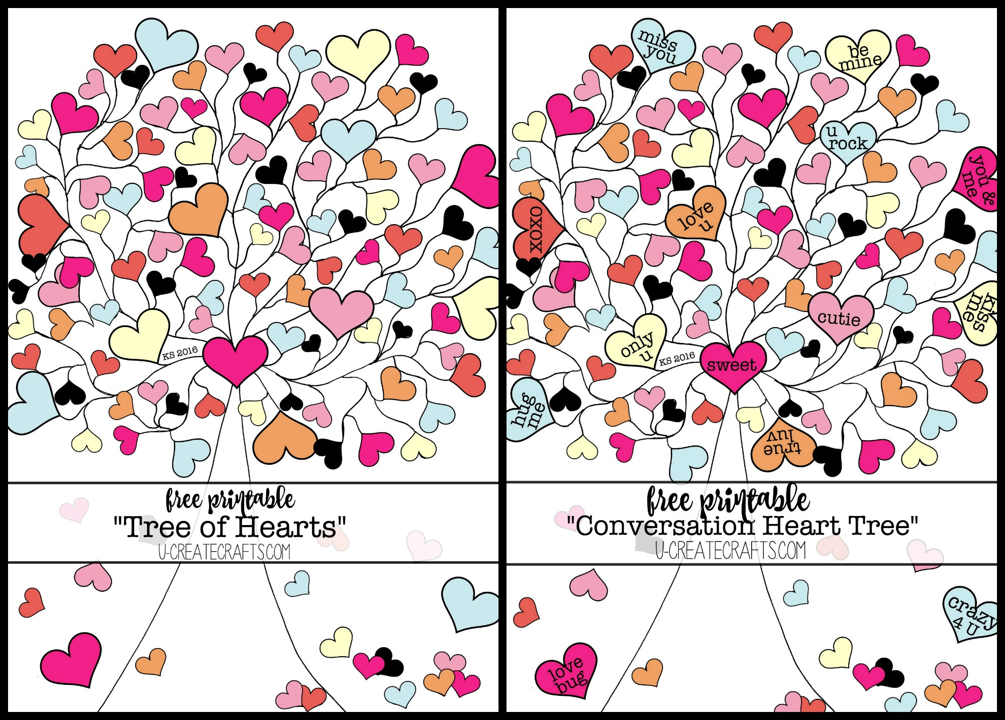 valentine conversation heart tree coloring pages u create