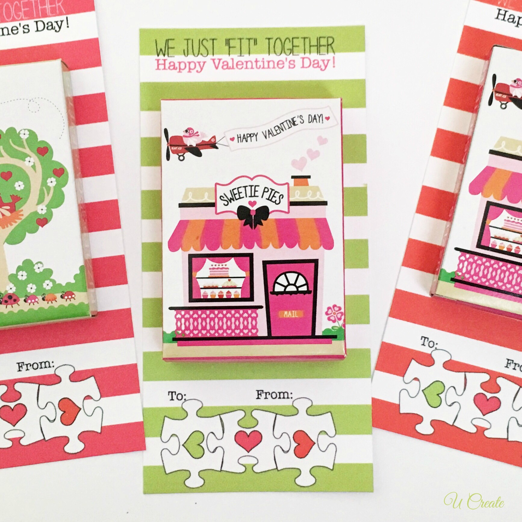 Free Printable Valentines for Puzzles by U Create