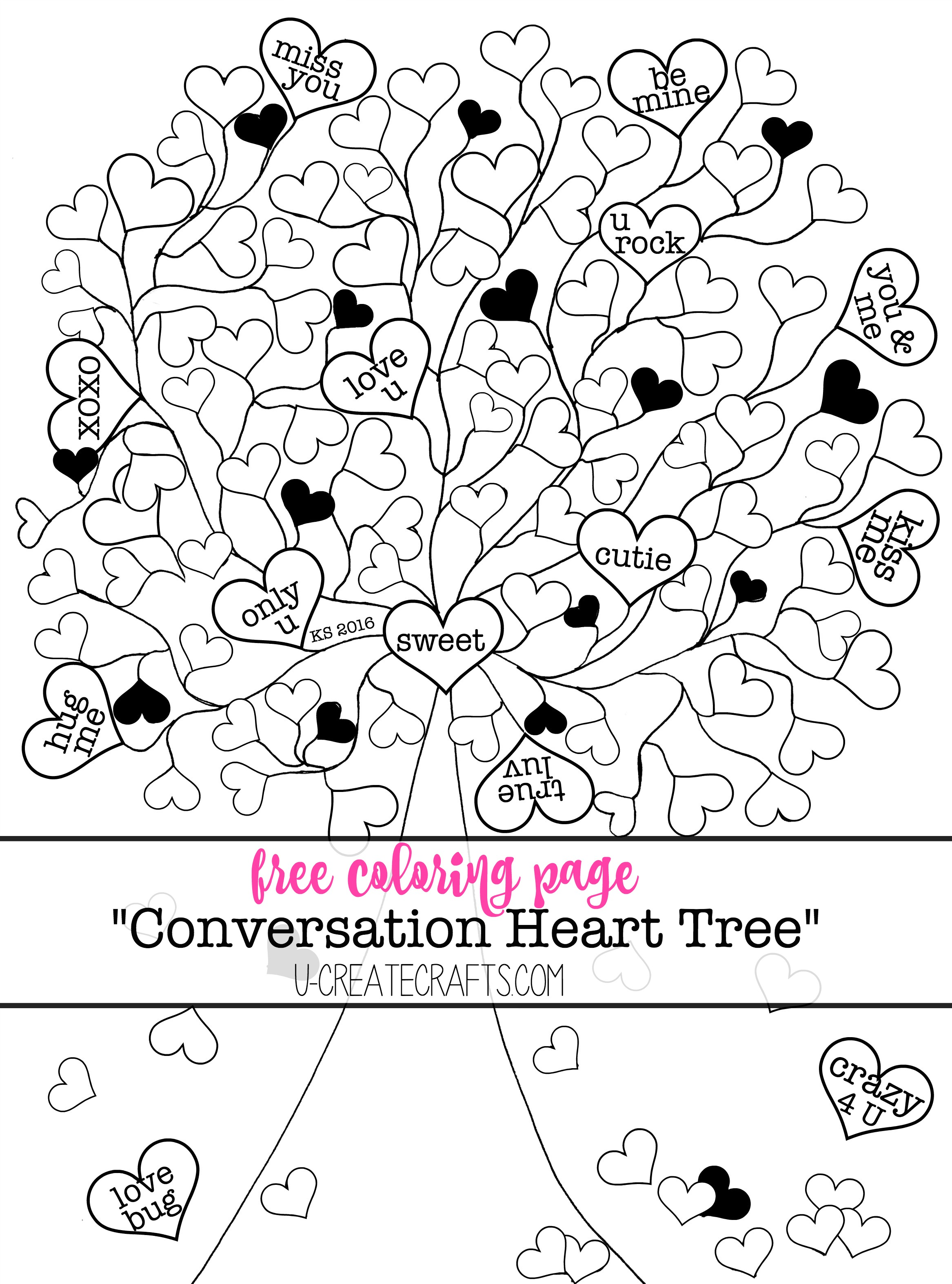 Valentine Conversation Heart Tree Coloring Pages - U Create