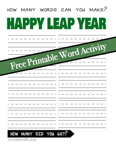 Happy Leap Year Word Game u-createcrafts.com