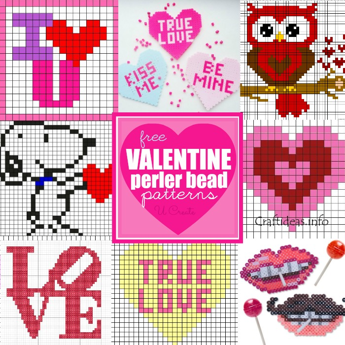 Free Valentine Perler Bead Patterns at U Create