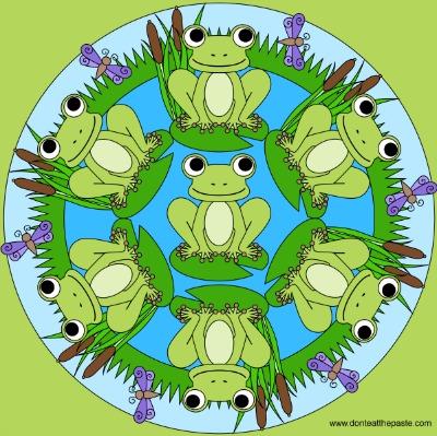 frog mandala coloring page