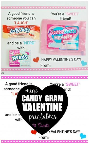 Mini Candy Gram Valentine Printables by U Create