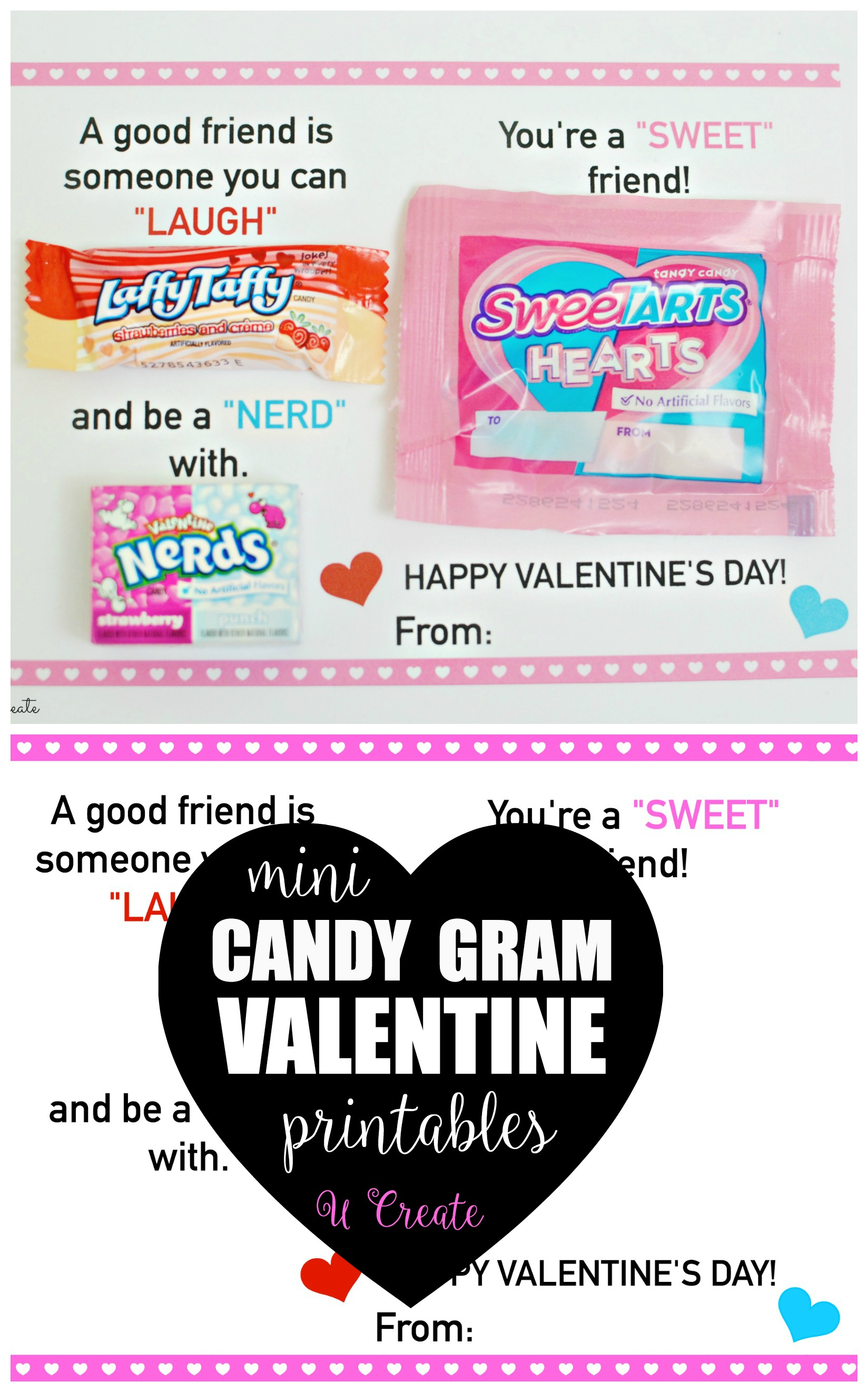 Mini Candy Gram Valentine Printables by U Create