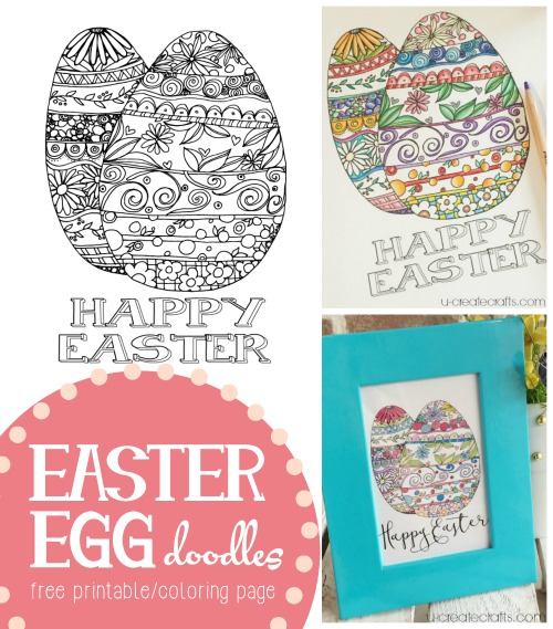 Easter Egg Doodles coloring pageprintable at u-createcrafts.com