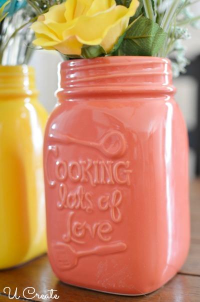 Kitchen Mason Jar Floral Arrangements by U Create