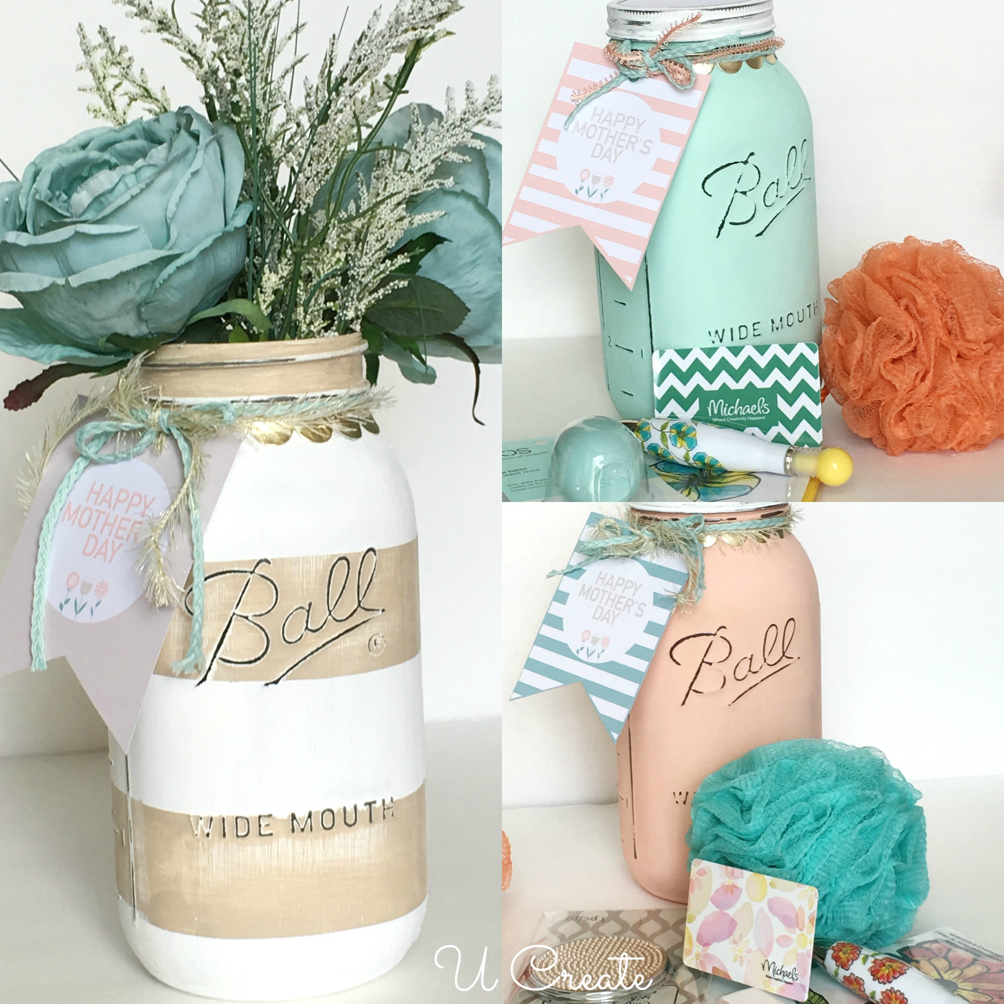 DIY Mother's Day Mason Jars with free printable tags! Use as packaging...or a vase!