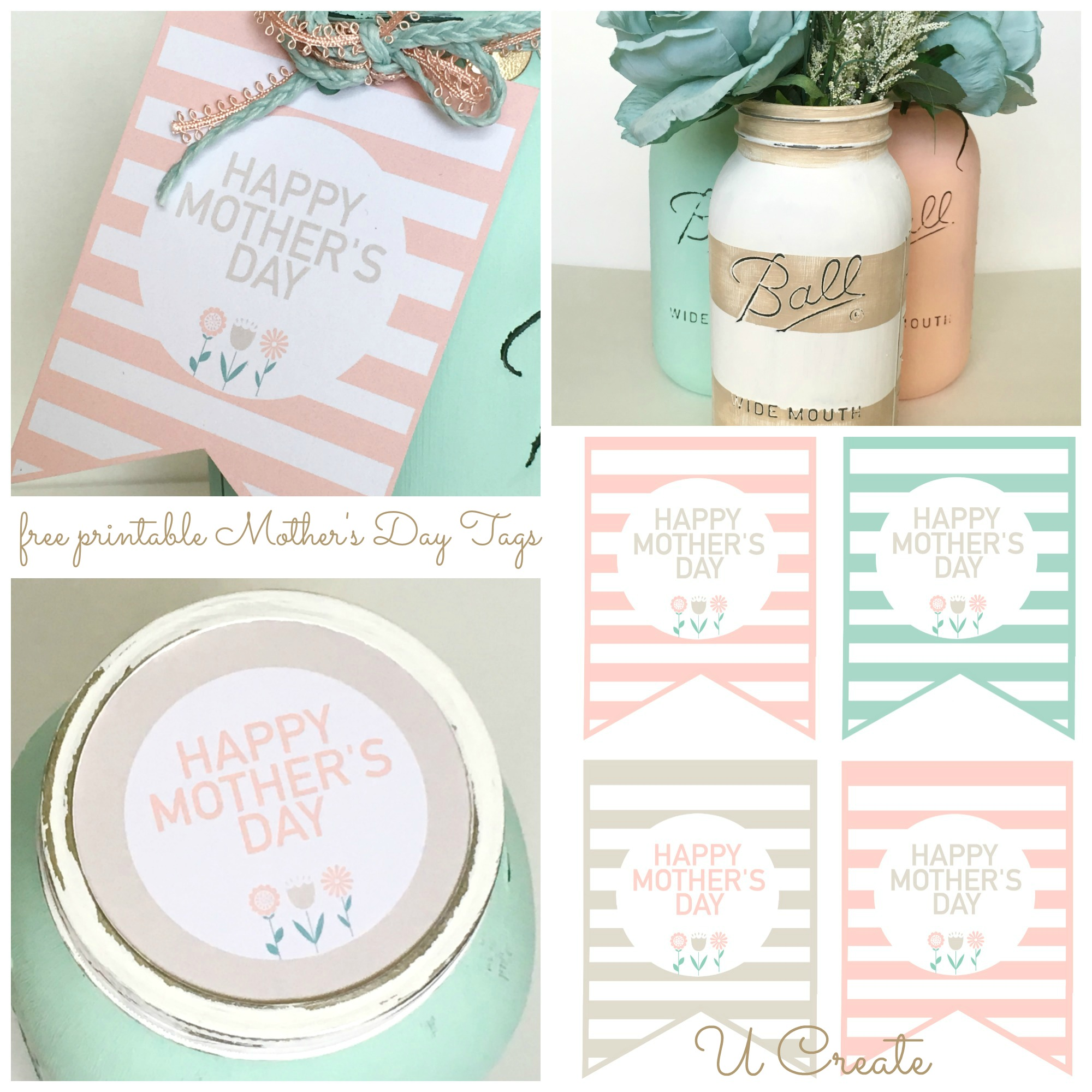 photo relating to Free Printable Mothers Day Tags named Do-it-yourself Moms Working day Mason Jars