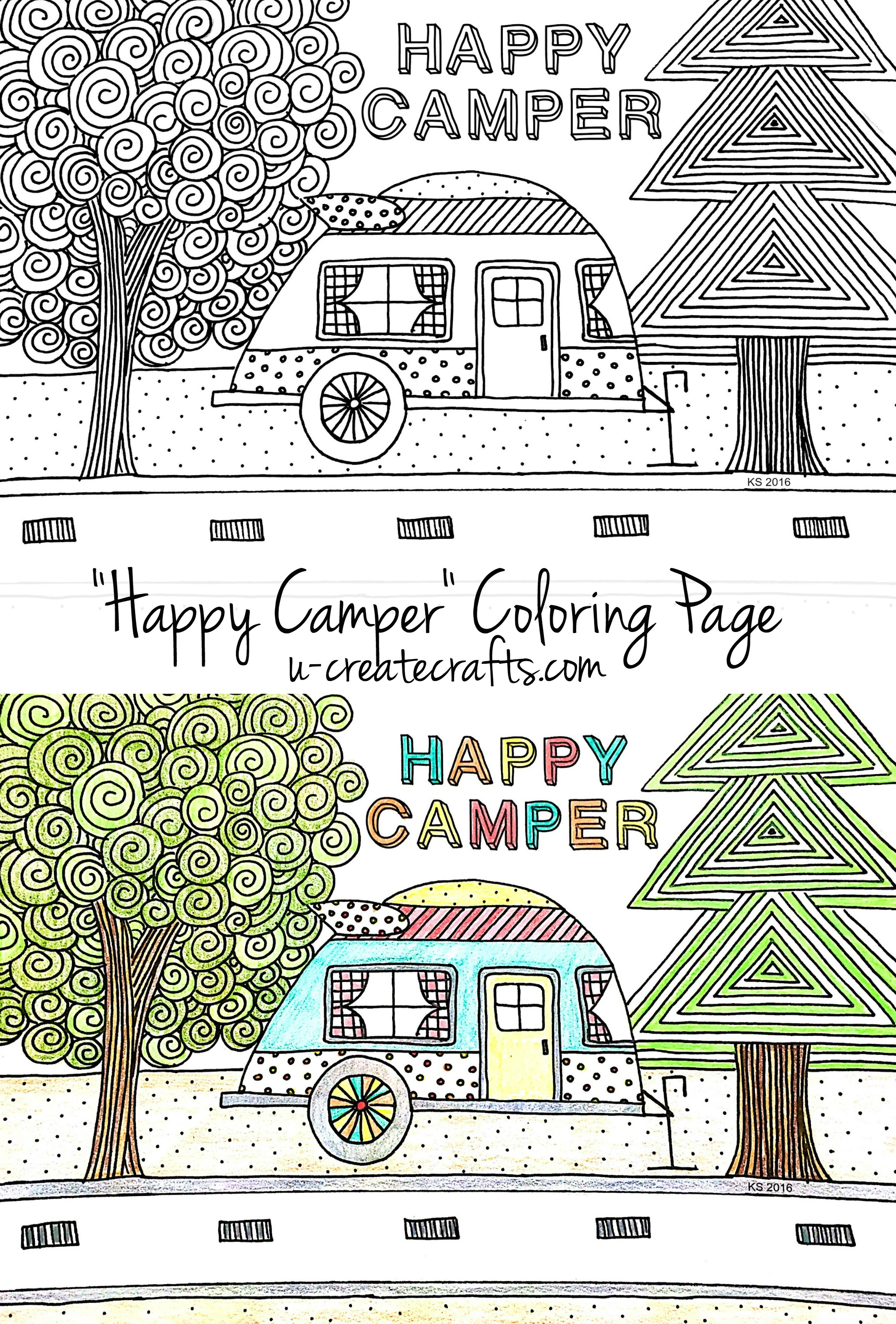 Happy Camper Free Coloring Page by U Create