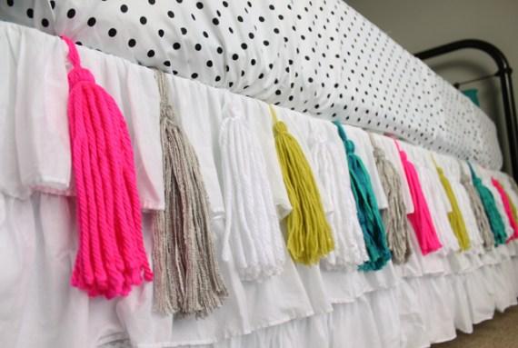 Yarn Tassel Bedskirt Tutorial