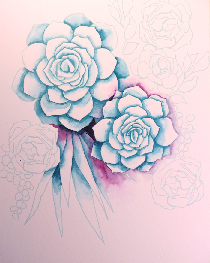 How to Make Watercolor Succulents and free template!