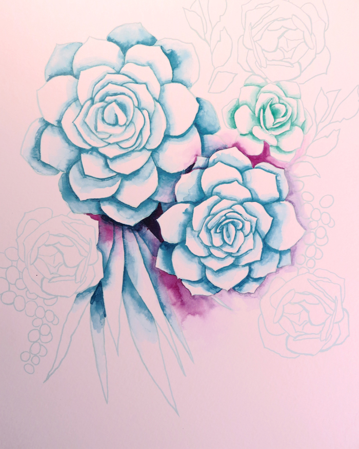 How to Make Watercolor Succulents with free templates