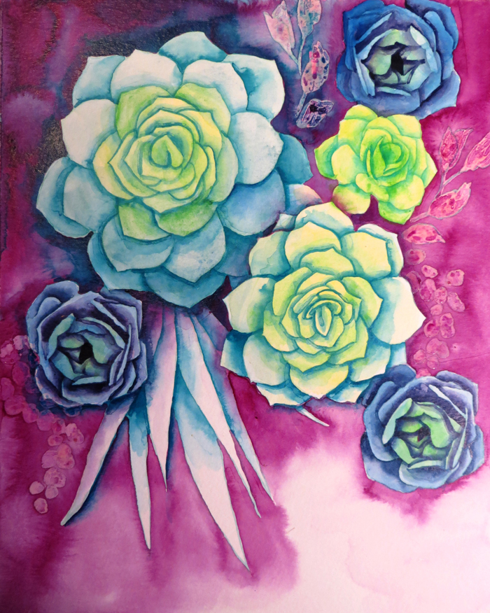 How to make Watercolor Succulents - also free template!