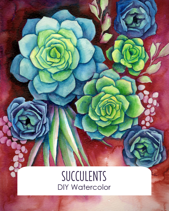 DIY Watercolor Succulent tutorial with free template!
