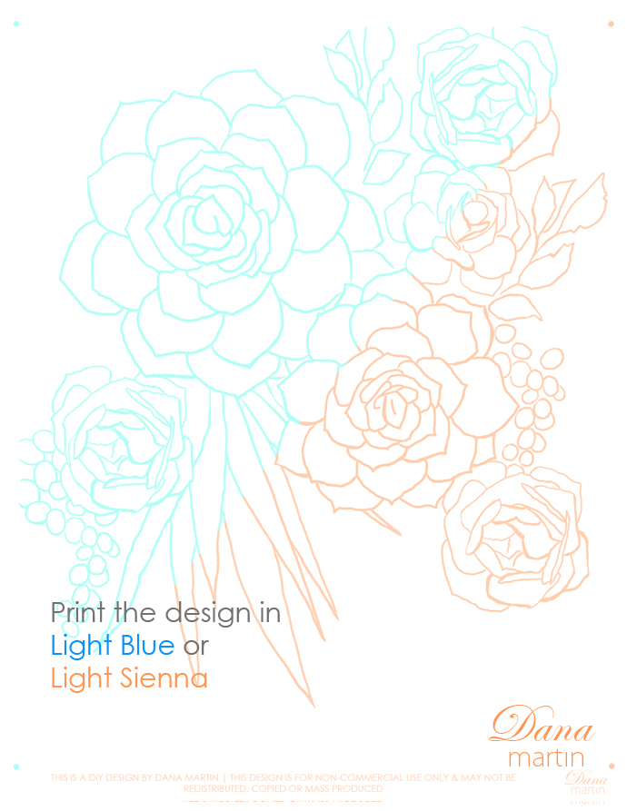 Free Watercolor Succulents Template