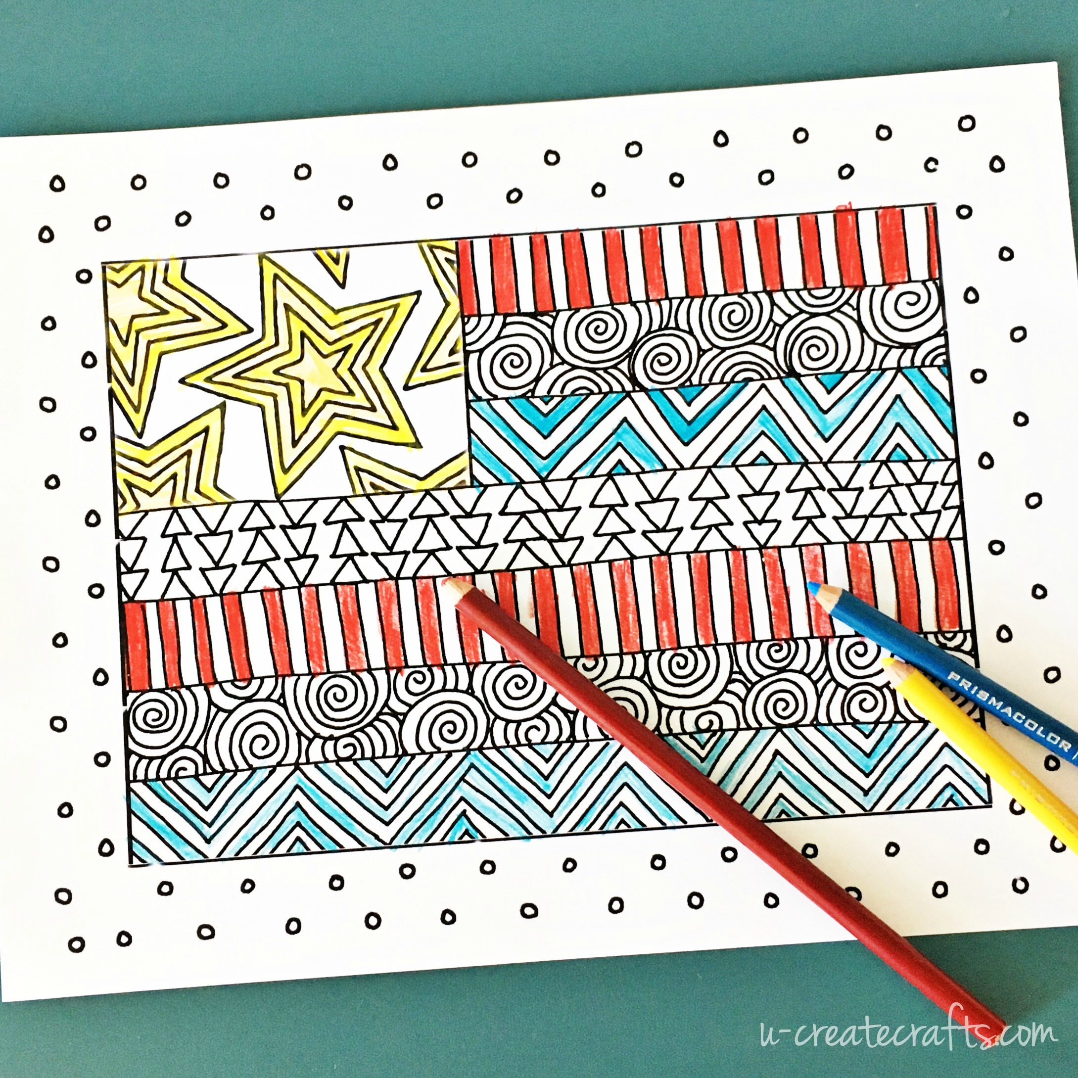 "Free ""Quilted Flag"" Coloring Page by U Create"