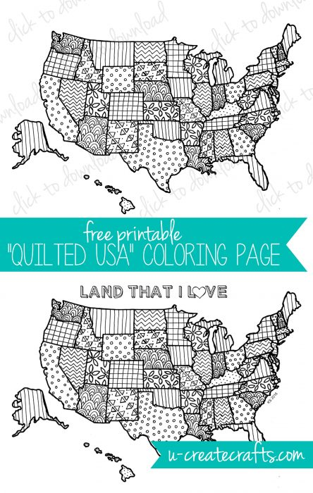 Free Coloring Page - Quilted USA