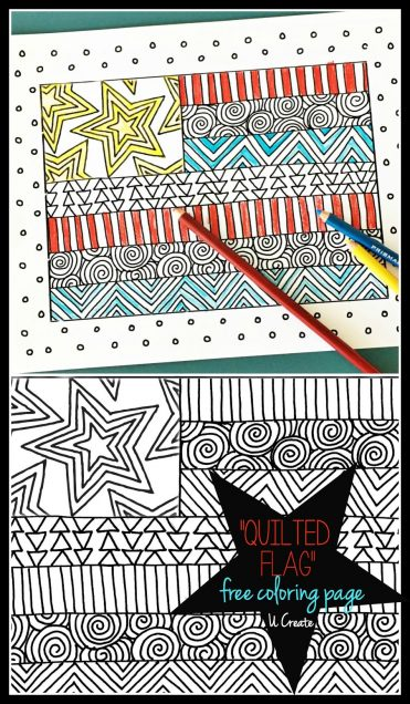 """Quilted Flag"" coloring page by U Create"