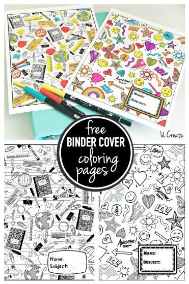 Free Binder Coloring Pages by U Create