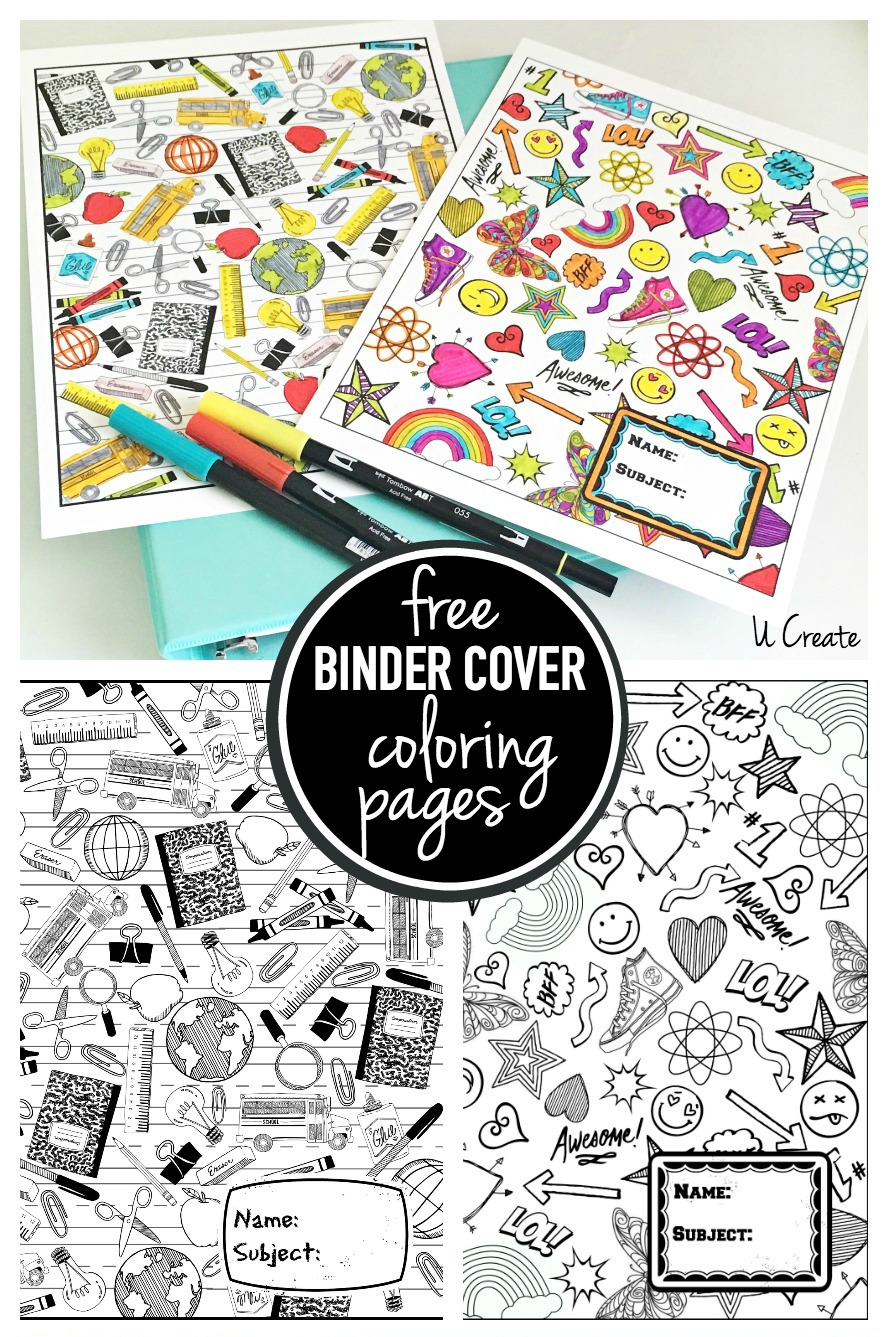 Free Binder Coloring Pages by U Create
