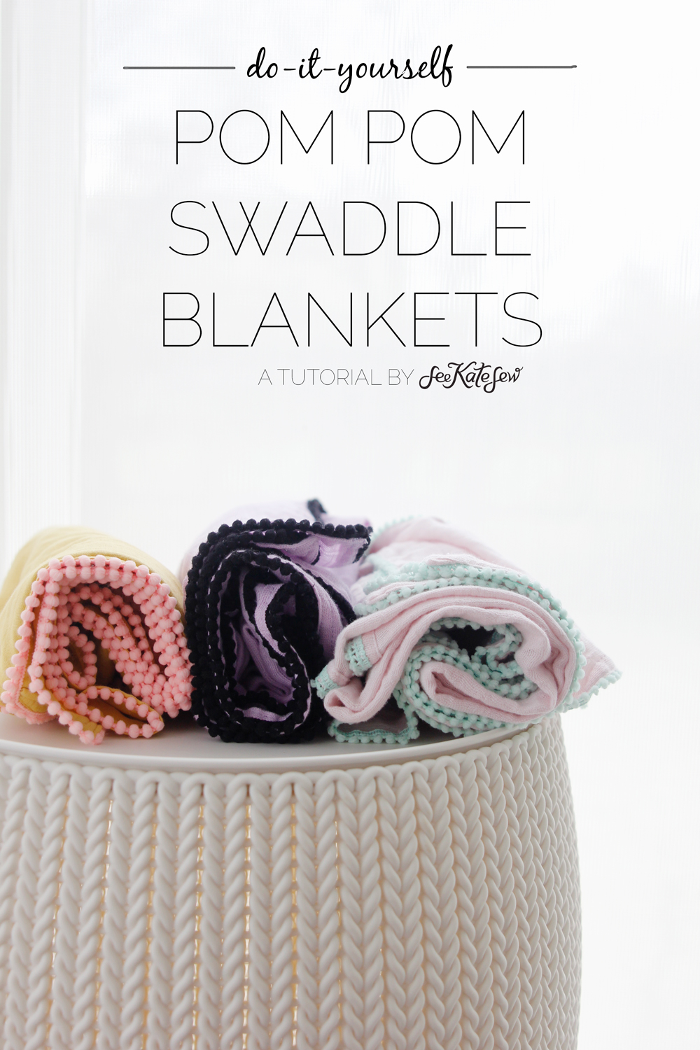 Pom Pom Swaddle Blanket Tutorial by See Kate Sew
