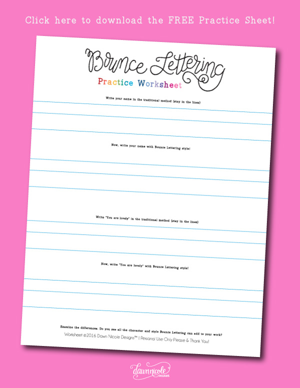 How to do Bounce Lettering with free worksheets!