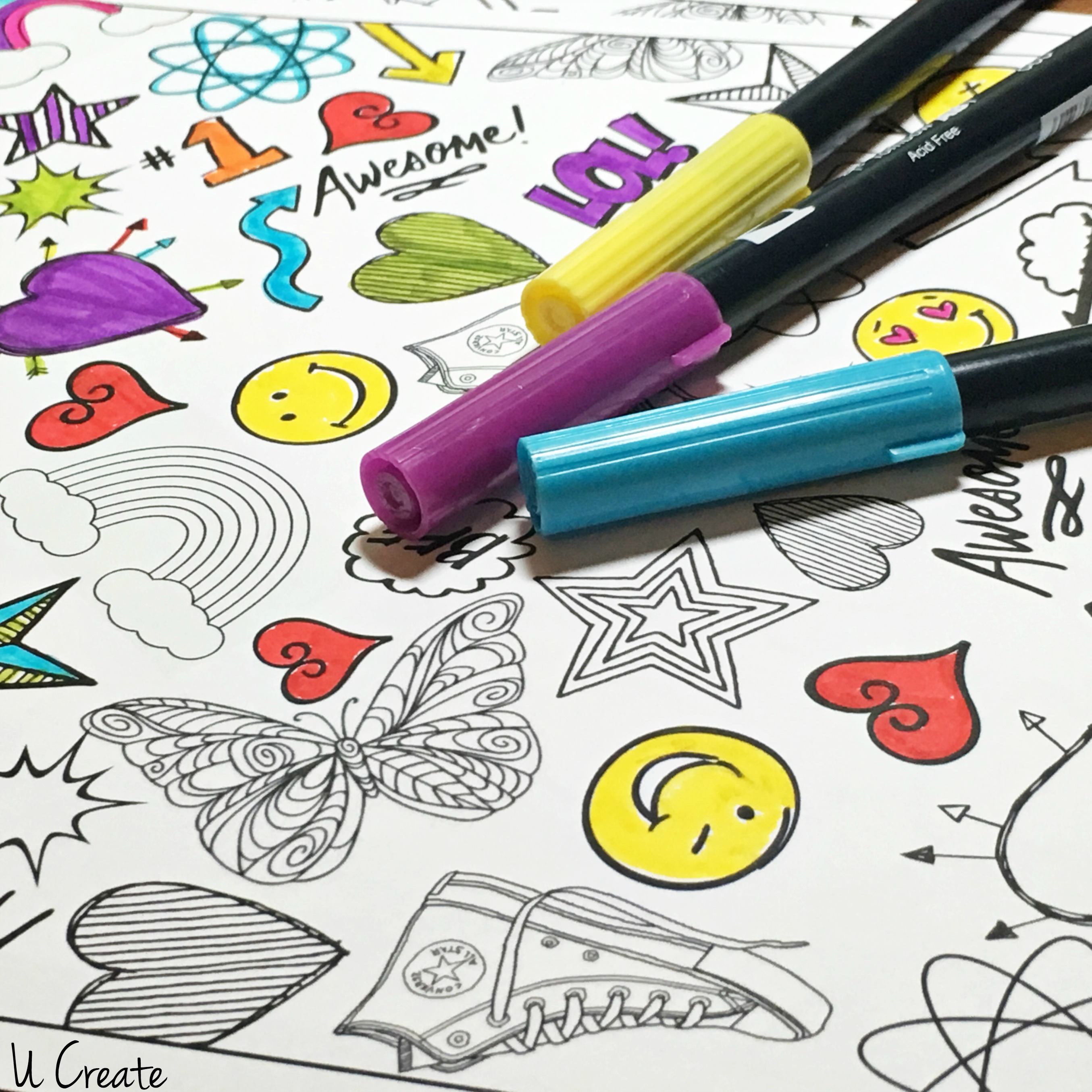 Free Binder Cover Coloring Pages by U Create