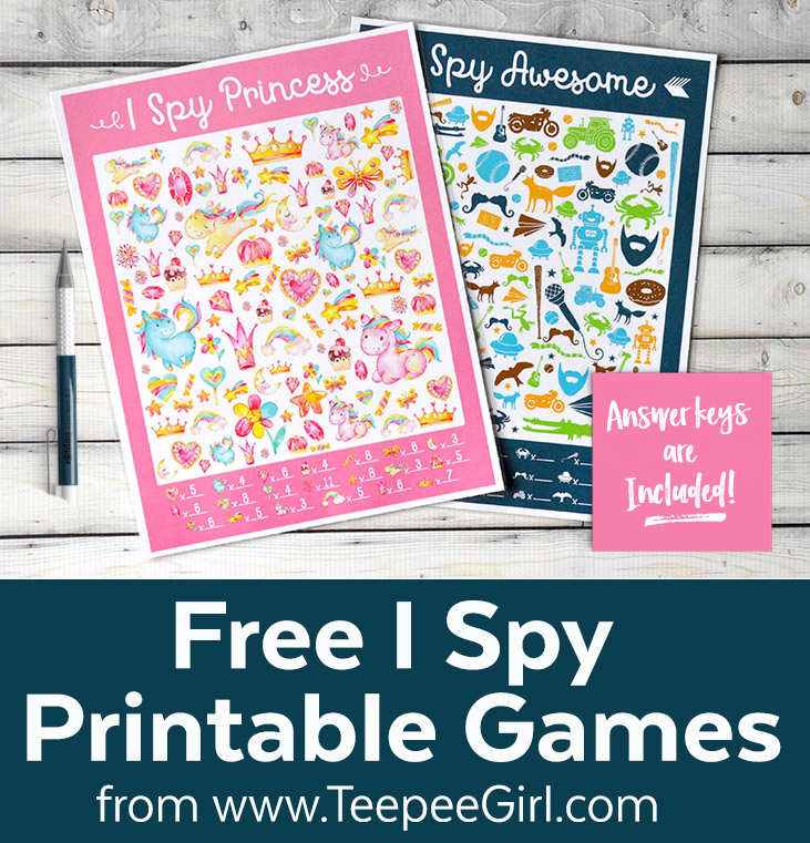 "Free ""I SPY"" Printable Games by Teepee Girl"