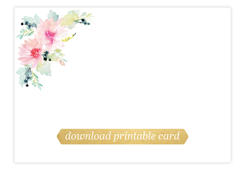 Printable floral card for hand lettering