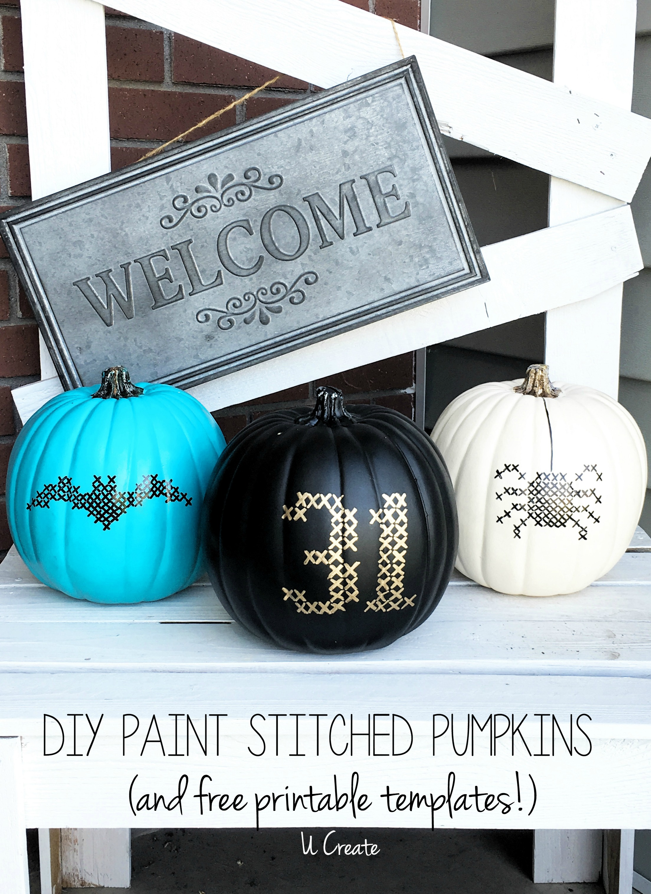 DIY Paint Stitched Pumpkins with free templates by U Create