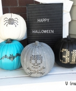 DIY Paint Stitched Pumpkins