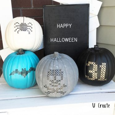 Faux Stitched Pumpkins with 4 free template designs!