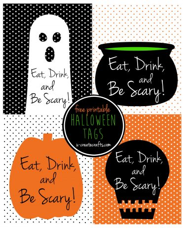 Eat, Drink, and be Scary Halloween printable tags by U Create