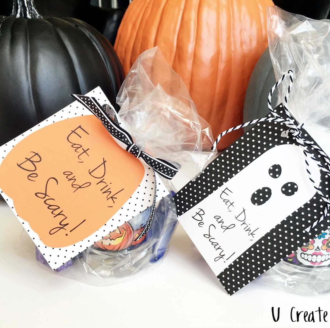 Halloween treat and drinks with printables by U Create