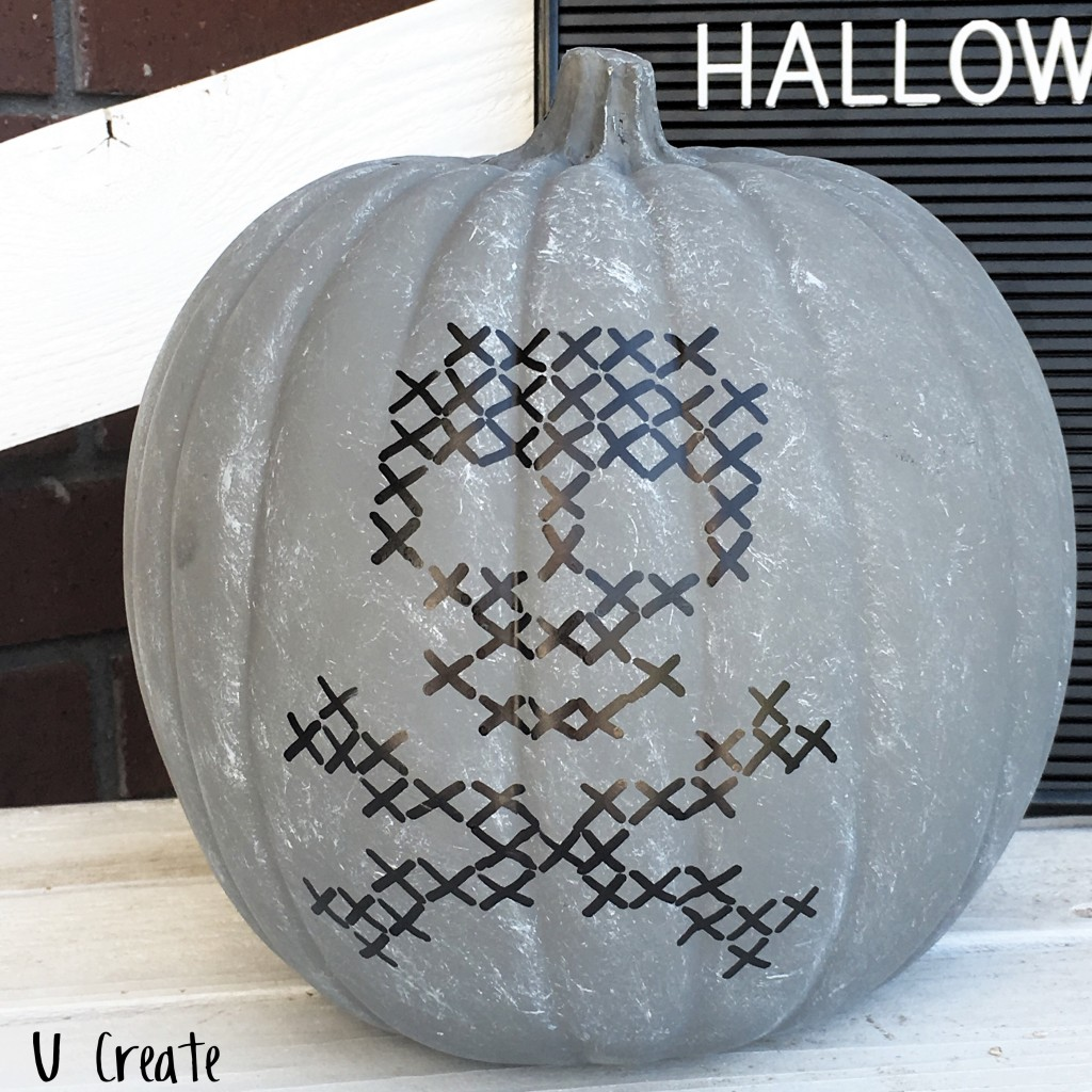 Faux Stitched Pumpkins with 4 different free template designs!